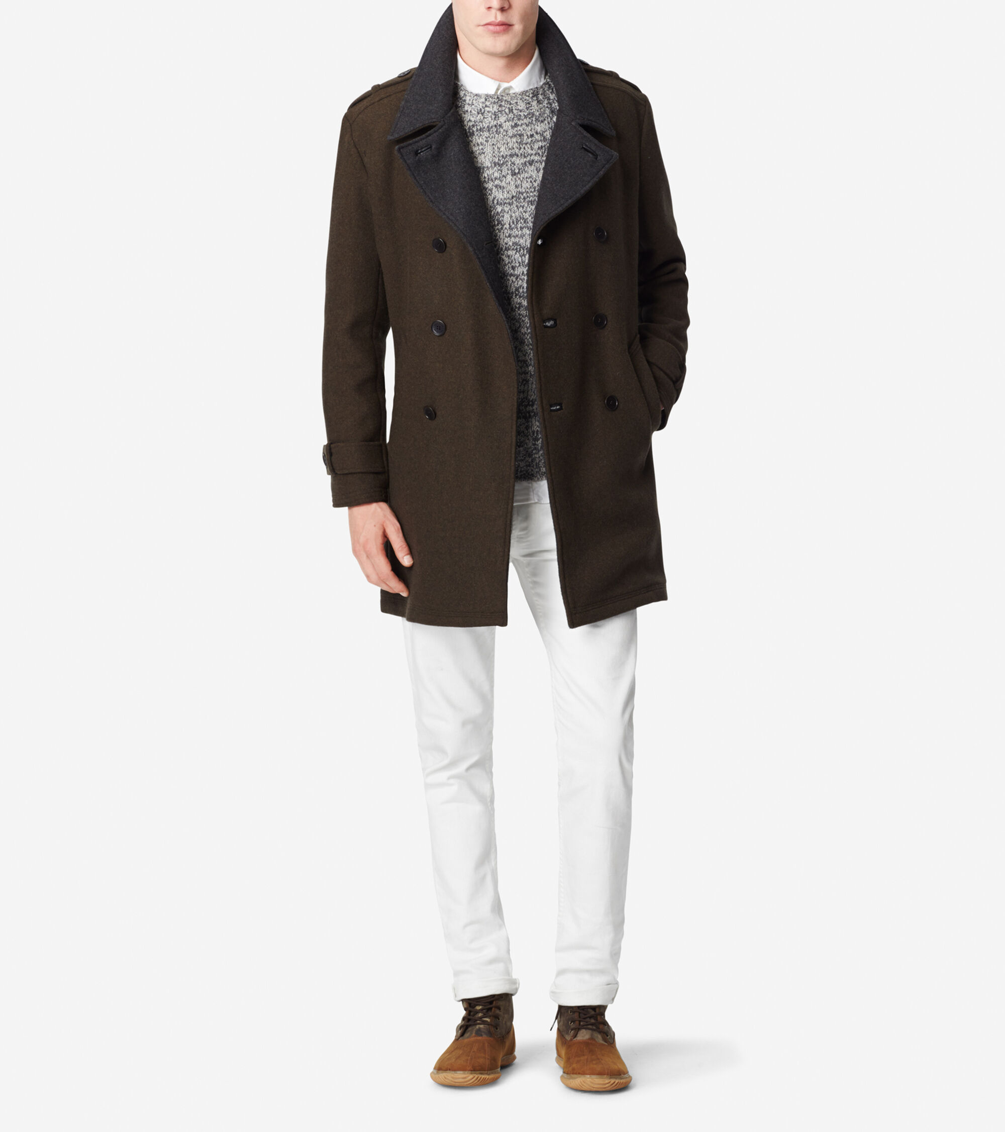 Outerwear > Wool Double Breasted Coat