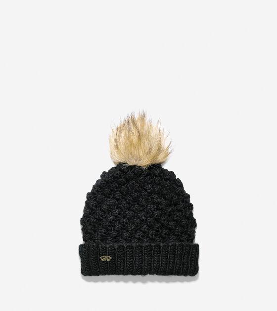 Accessories > Popcorn Stitch Faux Fur Pom Hat