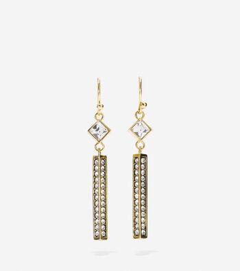 Shimmer On The Ocean Swarovski Crystal Linear Drop Earring