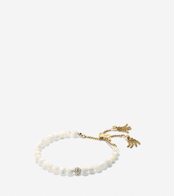 Mother Of Pearl Beaded Pull-Tie Bracelet