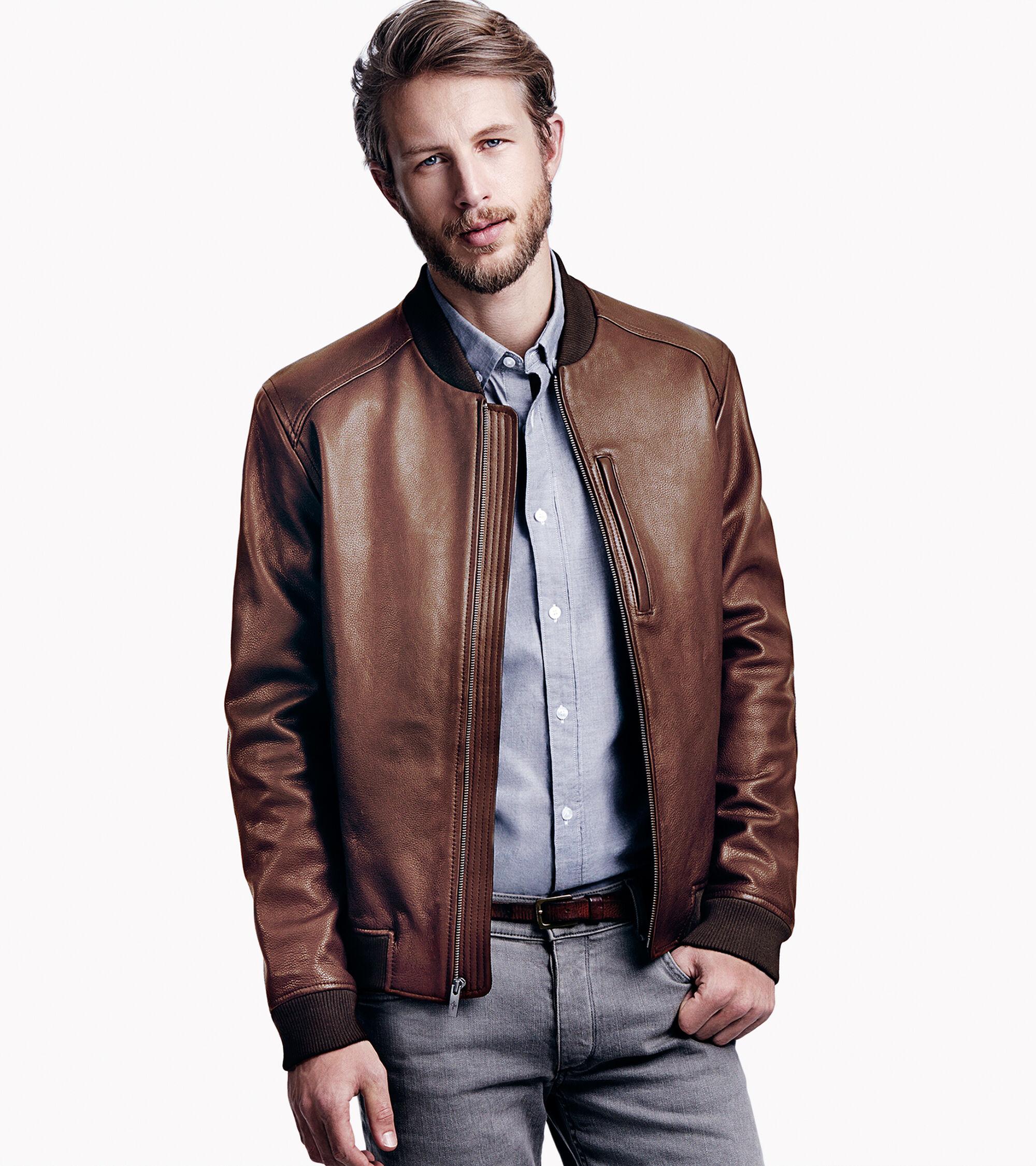 Varsity Leather Baseball Jacket in Chocolate : Men&39s Jackets
