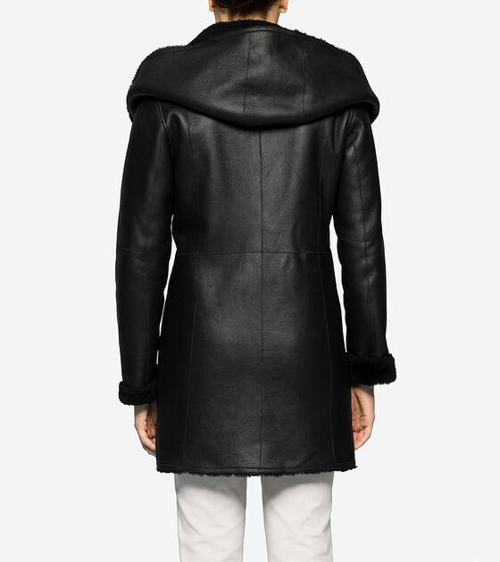 Hooded Shearling Coat in Black | Cole Haan