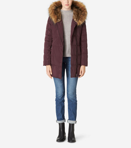 Outerwear > Faux Fur Lined Quilted Exposed Down Jacket