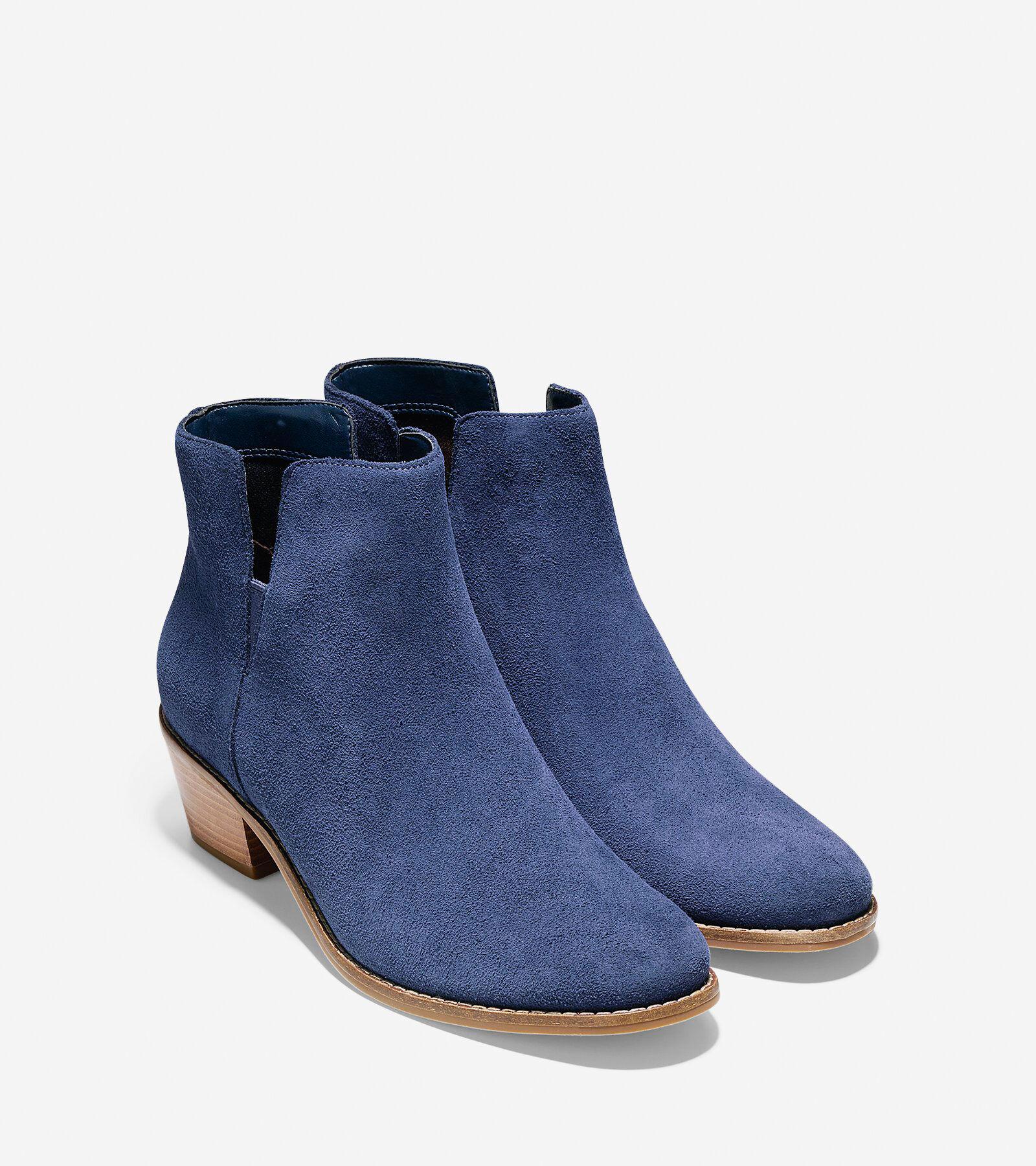 Womens Boots Cole Haan Abbot Bootie Blazer Blue Suede