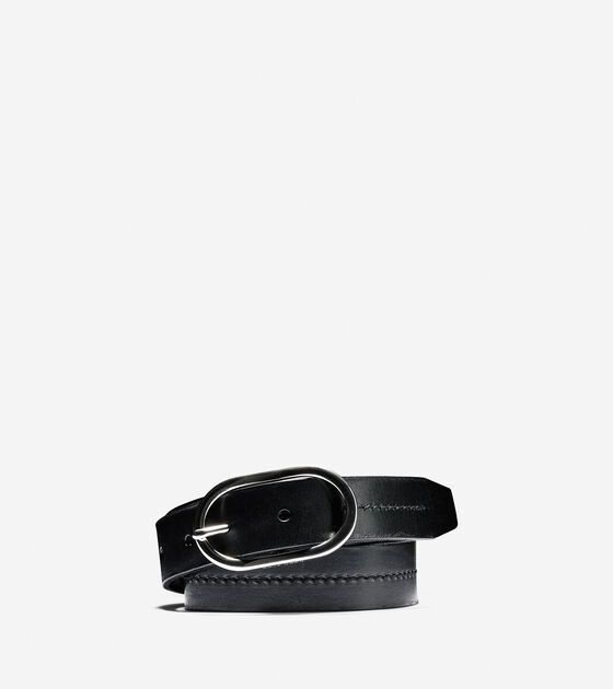 Leather Circle Buckle Belt