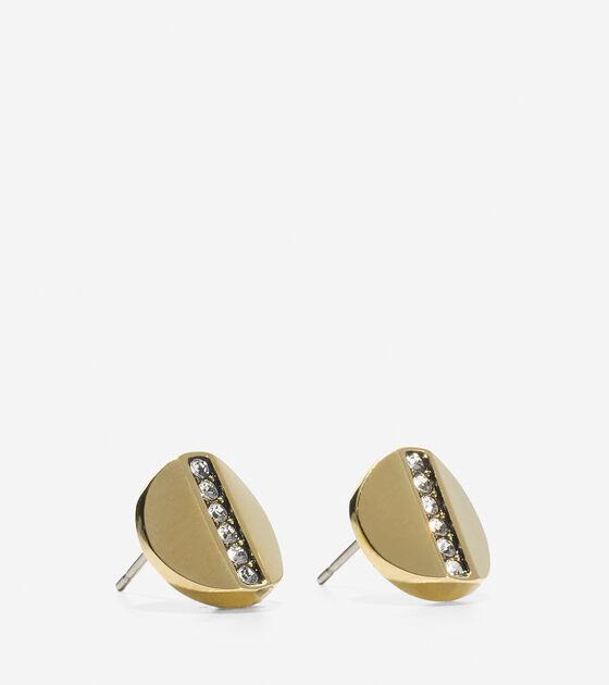 Round Pave Swarovski Bar Stud Earrings