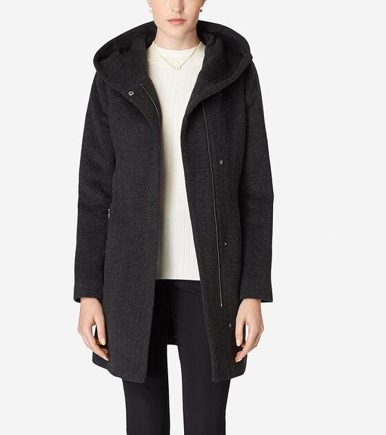 Outerwear > Hooded Italian Alpaca Coat