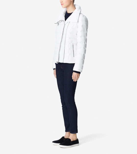 Packable Down Coat With Asymmetrical Front