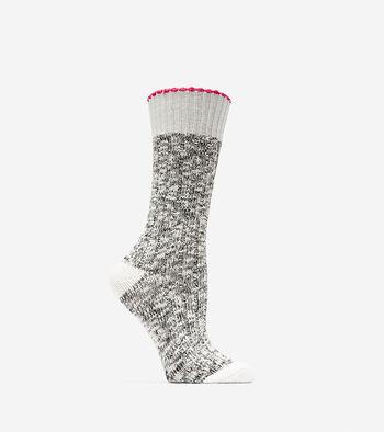 Metallic Lurex Slub Crew Socks