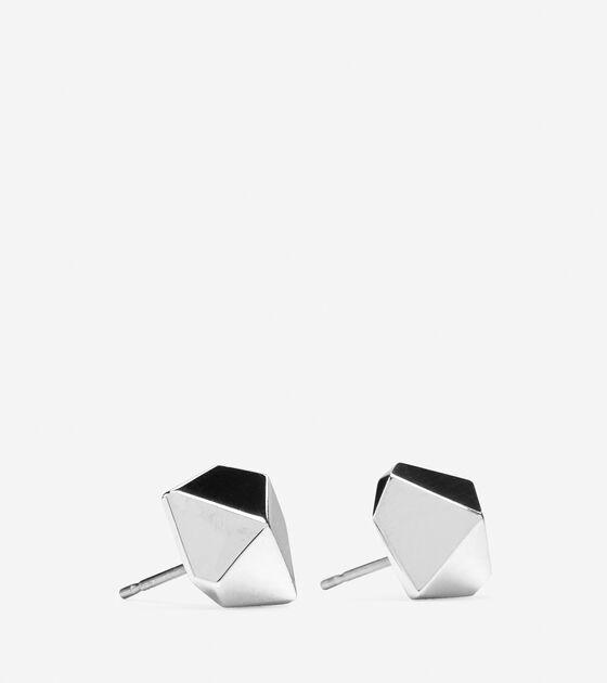 Faceted Metal Stud Earring