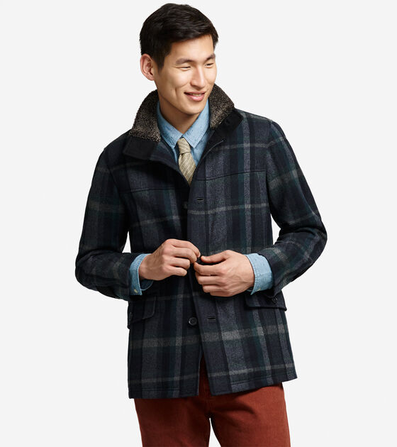 Outerwear > Wool Plaid Car Coat