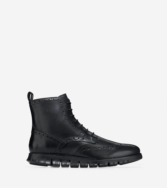 s zerogrand wingtip boots in black leather cole haan