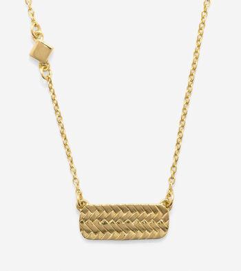 Sterling Silver Basket Weave Bar Necklace