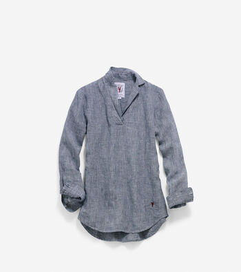Women's Pinch Long Sleeve Linen Popover Shirt
