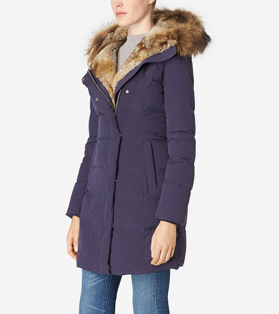 Hooded Assymetrical Down Coat