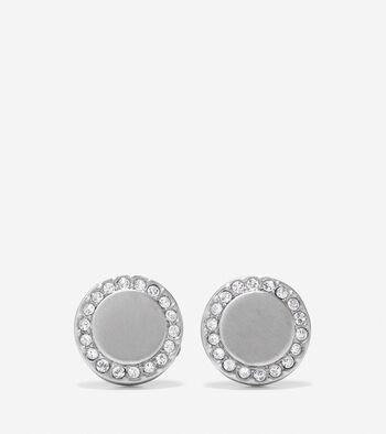 Madison Avenue Pavé Round Metal Swarovski Stud Earrings