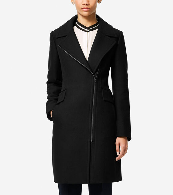 Outerwear > Italian Double-Faced Wool Asymmetric Jacket