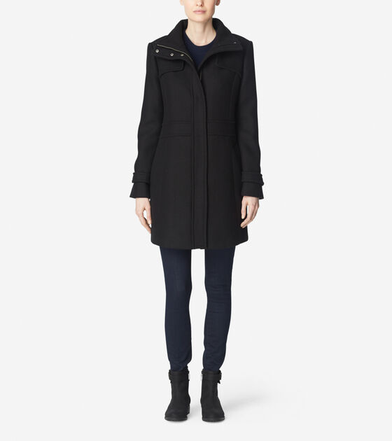 "Cole Haan 34"" Single Breasted Rain Jacket Black - 6pm.com"