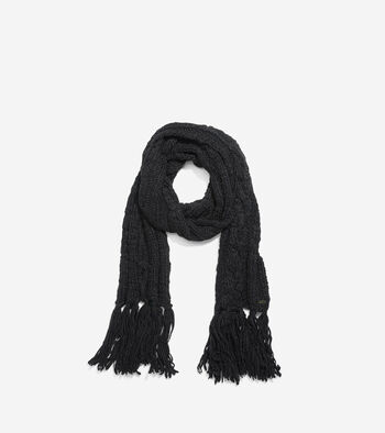 Chunky Cable Muffler With Fringe