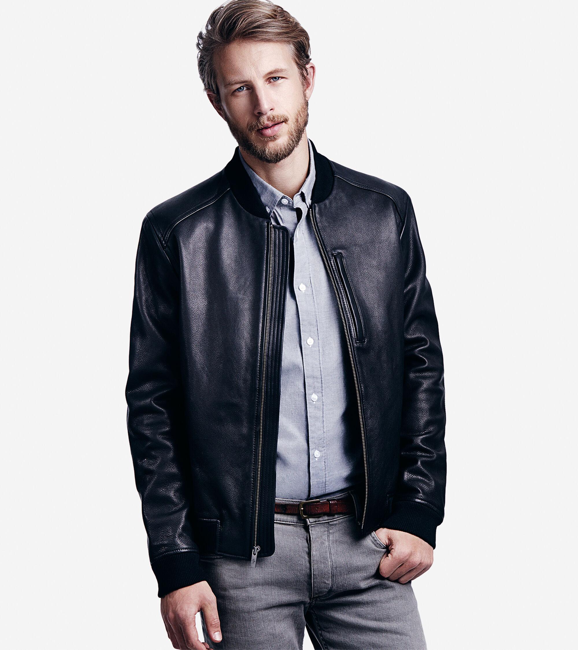 Black Leather Baseball Jacket - Jacket