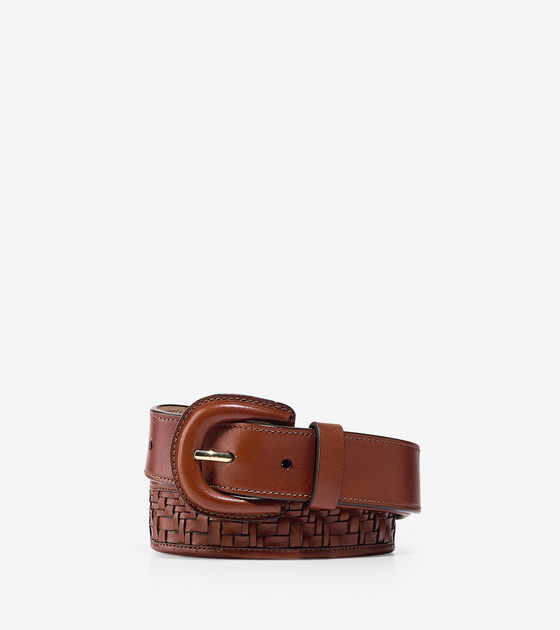Bags & Outerwear > Genevieve Weave Leather Belt
