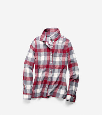 Women's Pinch Long Sleeve Plaid Shirt