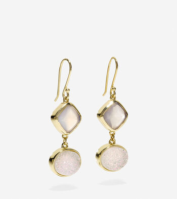 To The Moon Semi-Precious Double Drop Earrings