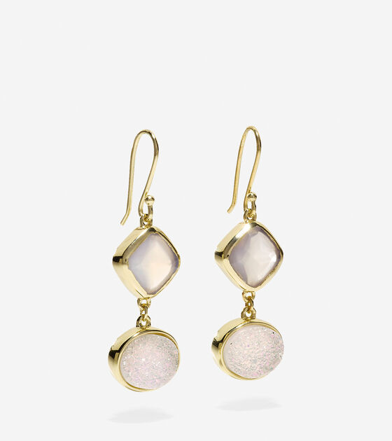 To The Moon Semi-Precious Double Drop Earrings