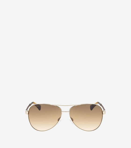 Sunglasses > Metal Aviator Sunglasses With Leather