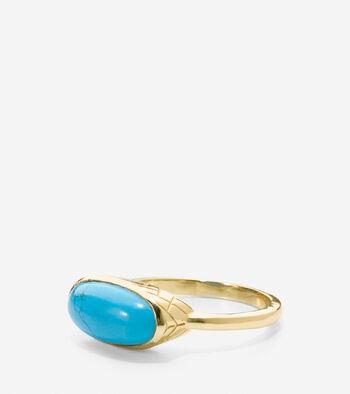 Marine Life Semi-Precious Horizontal Stone Ring