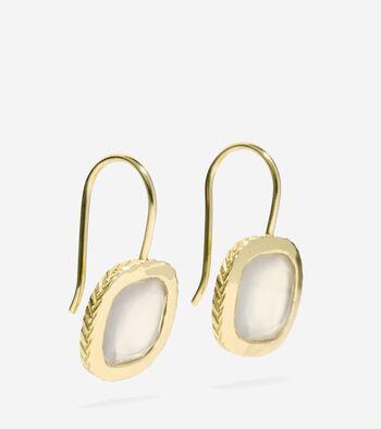 Semi-Precious Cushion Cut Drop Earrings