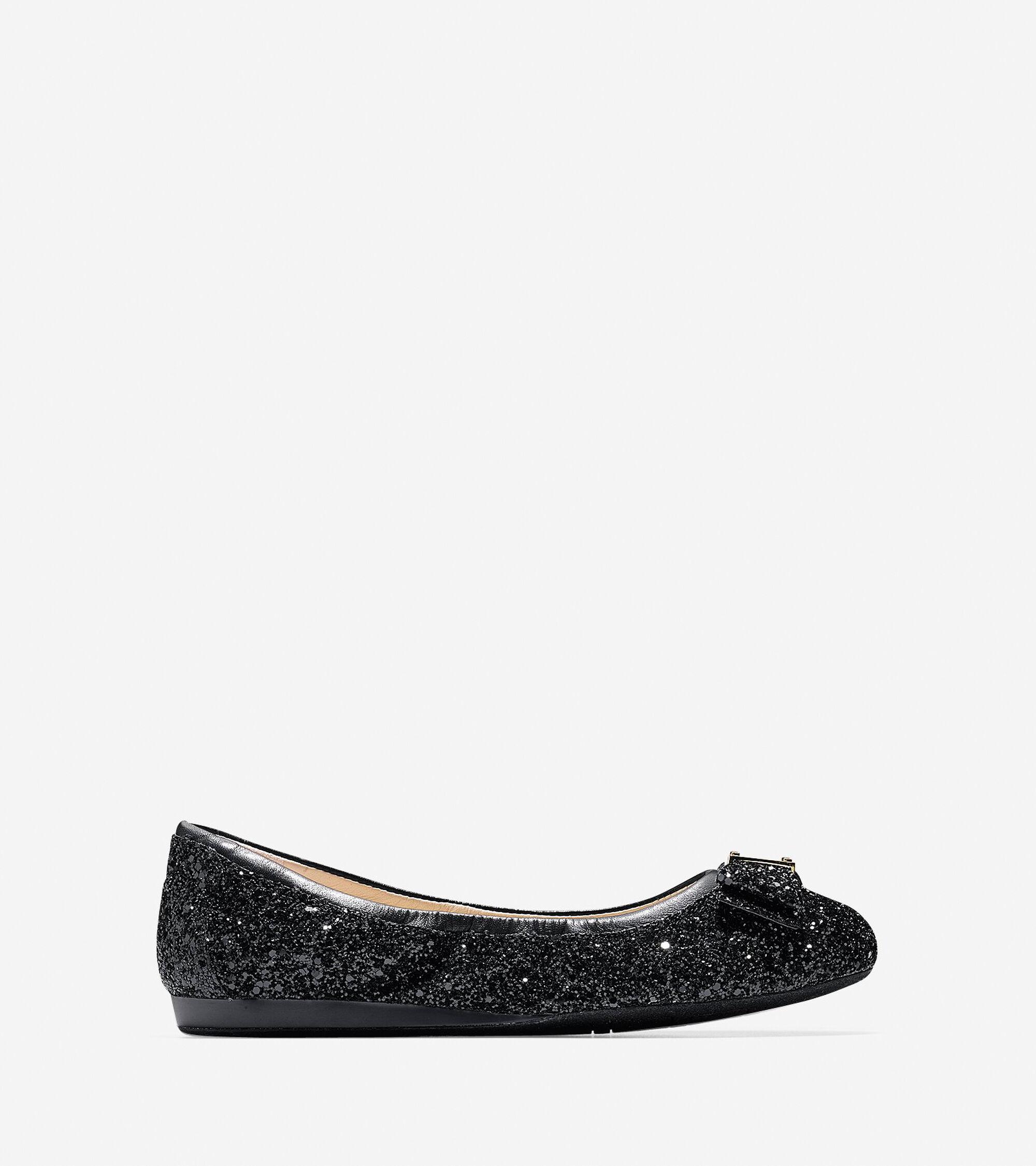 1047ff3cc6a4d Mila Black Glitter Ballet Flats For Women Black Glitter Flats Women: Women's  Tali Bow Ballet Flats In Black Glitter