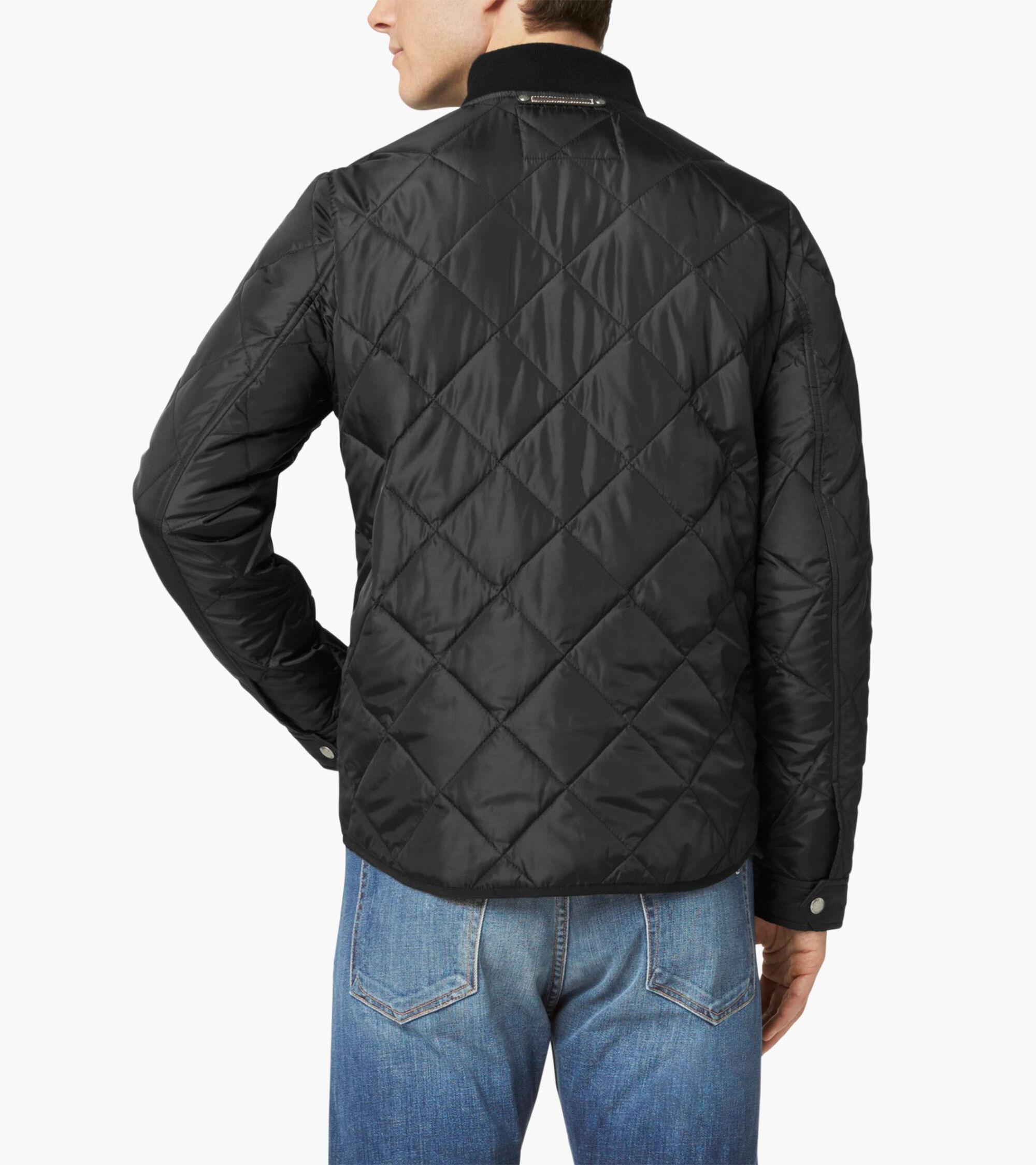 Men's Quilted Varsity Jacket in Black | Cole Haan : cole haan leather jacket diamond quilted - Adamdwight.com