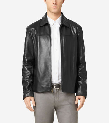 Smooth Leather Shirt Collar Jacket