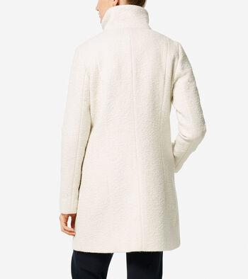 Coated Wool Funnel Neck Coat