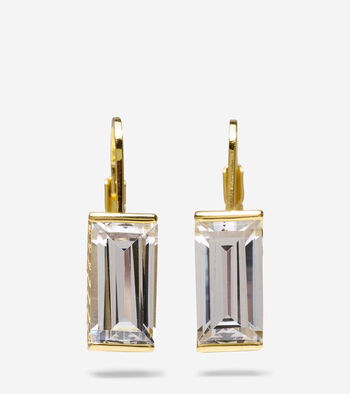 Cubic Zirconia Baguette Drop Earrings