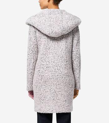 Signature Asymmetric Oversized Hooded Boucle Coat