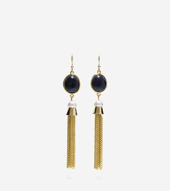Adair Semi-Precious Stone and Fringe Drop Earrings