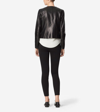 Collarless Assymetrical Leather Jacket