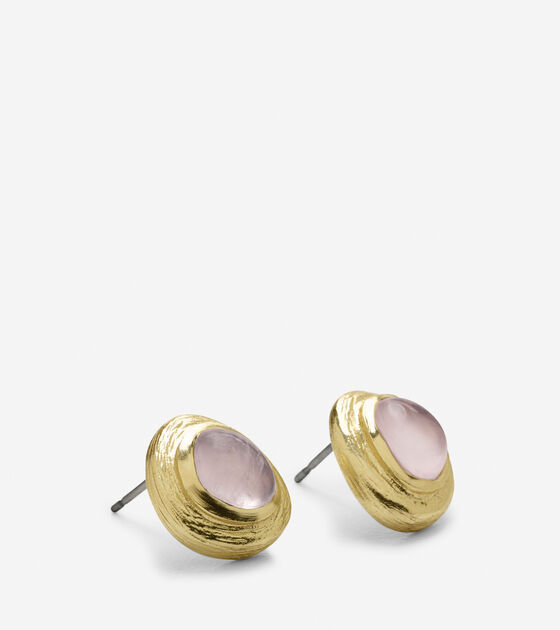 Metal Border Semi-Precious Stone Stud Earring