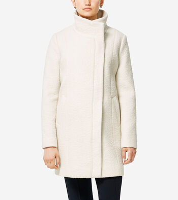 Coated Wool Funnel Neck Coat