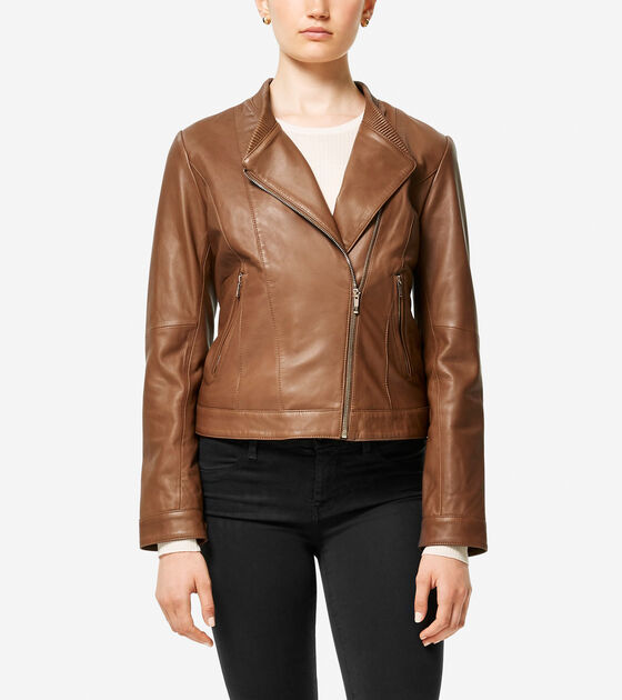 Classics > Smooth Lambskin Asymmetric Baseball Jacket
