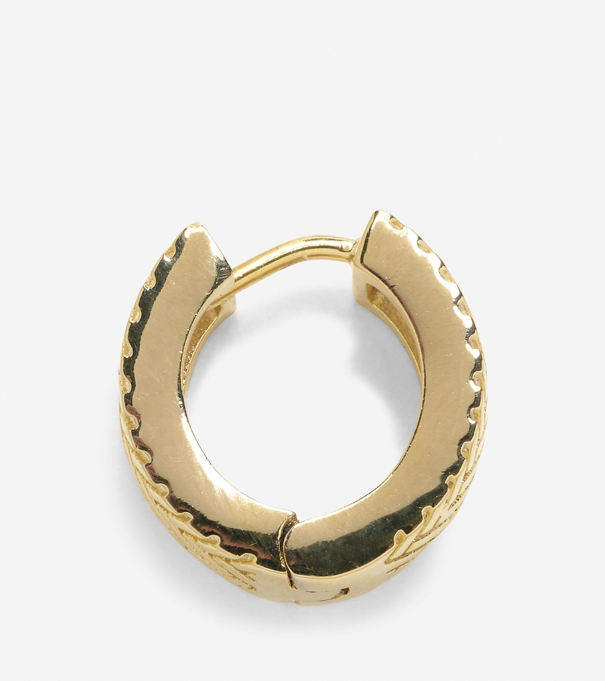 Basket Weave Huggy Earrings in Gold   Cole Haan