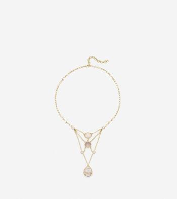 To The Moon Semi-Precious Open Stone Necklace