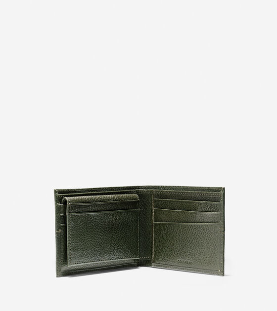 Pebbled Leather Removable Passcase Wallet