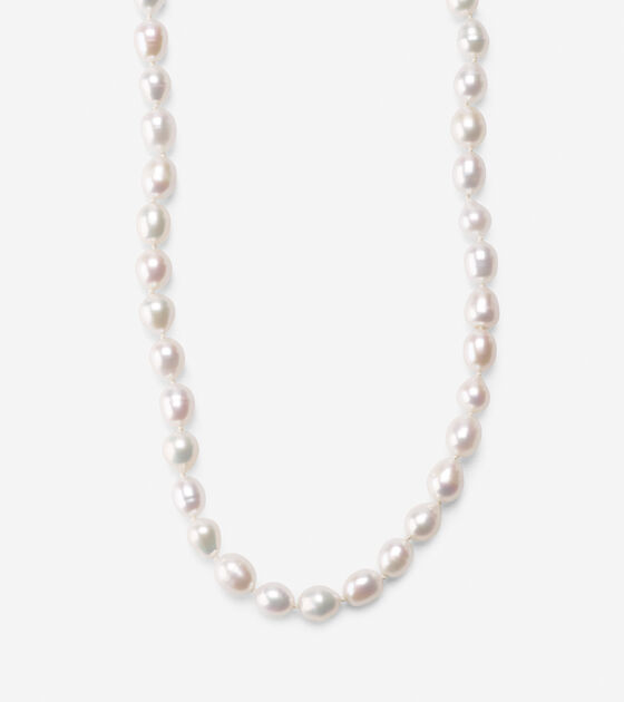 Knotted Pearl & Metal Necklace