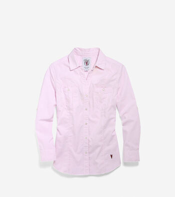 Women's Pinch Long Sleeve Woven Shirt