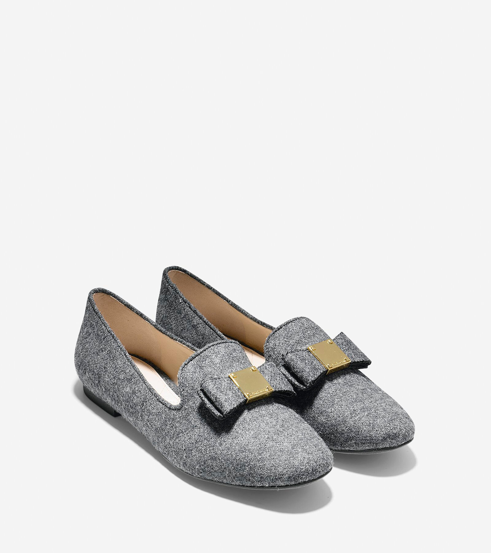 Sale Authentic Cole Haan Tali Flannel Bow Detail Loafers Grey Flannel Women