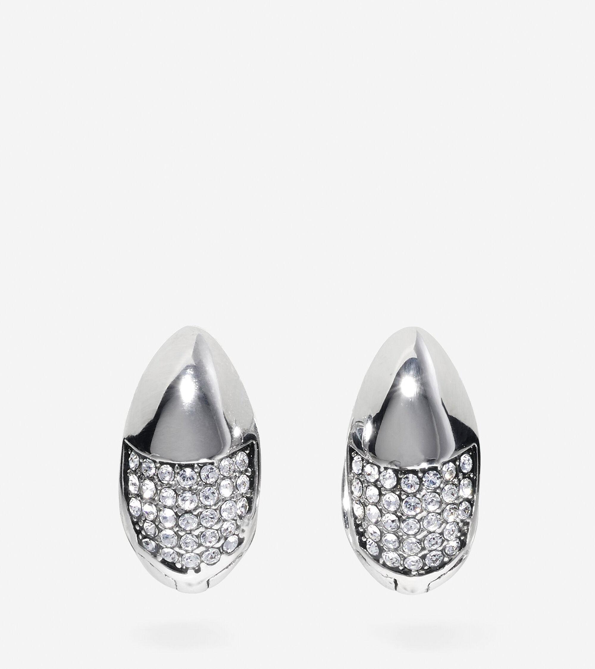 Jewelry > Waters Edge Swarovski Half Pave Teardrop Huggie Earrings