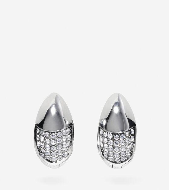 Bags & Outerwear > Waters Edge Swarovski Half Pave Teardrop Huggie Earrings